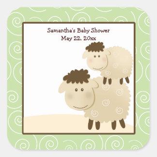 Baa Baa Sheep Neutral Green SQUARE Favor Sticker