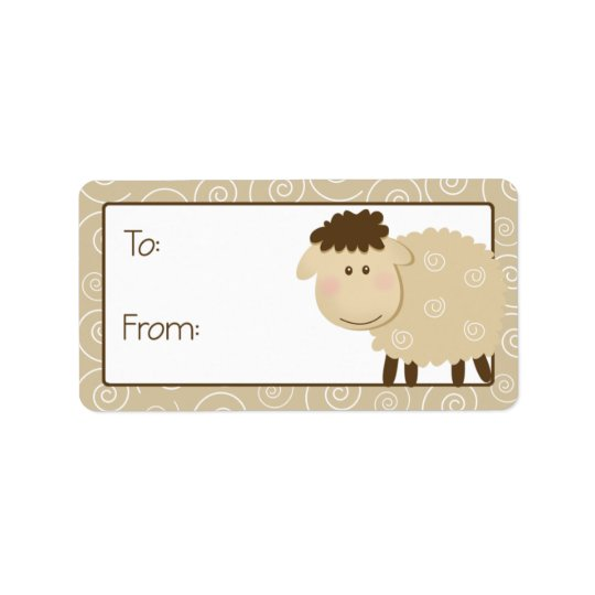 Baa Baa Sheep Tan Swirl Gift Tag Label