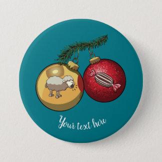 Baa Humbug Baubles Christmas Sheep & Candy Cartoon 7.5 Cm Round Badge