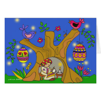 Baba and the Pysanky Tree Ukrainian Folk Art Card