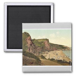 Babbacombe Beach, Torquay, England rare Photochrom Square Magnet