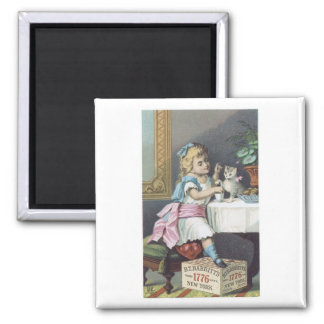 Babbits Girl with Cat Square Magnet