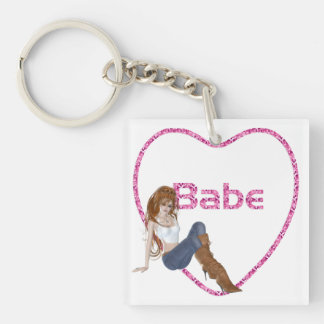 Babe Glitter Heart Candy Redhead Girl Design Double-Sided Square Acrylic Key Ring