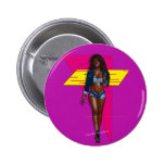 Babe in blue jeans 6 cm round badge