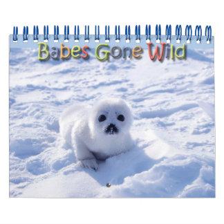 Babes Gone Wild/Wild Baby Animals Wall Calendar