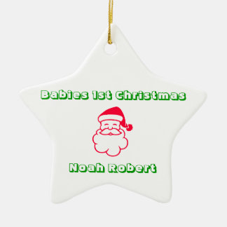Babies 1st Christmas Personalized Star Ceramic Ornament