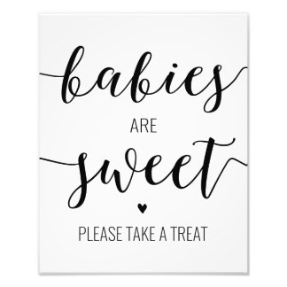 Babies are Sweet Take a Treat Baby Shower Sign Photo Art