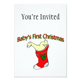 Babies First Christmas 13 Cm X 18 Cm Invitation Card