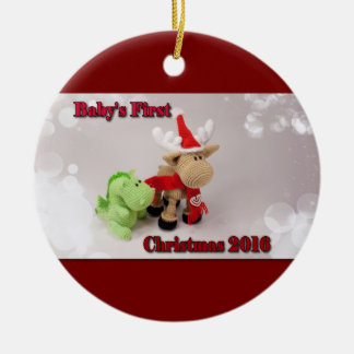 Babies First Christmas Round Ceramic Decoration