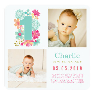 Babies Number 1 1st Birthday Photo Cards 13 Cm X 13 Cm Square Invitation Card