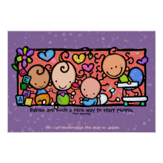 Babies Toddlers Infants Sweetlings. 9x13 purple Poster