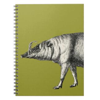 Babirusa Wild Pig Boar Hog Warthog Vintage Notebook