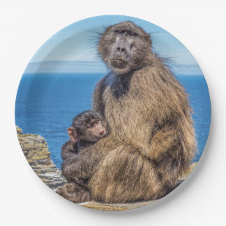 Baboon & Baby Paper Plates 9 Inch Paper Plate