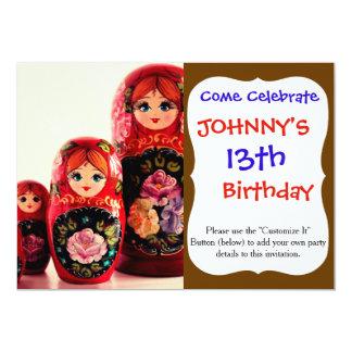 Babushka Russian Doll 13 Cm X 18 Cm Invitation Card