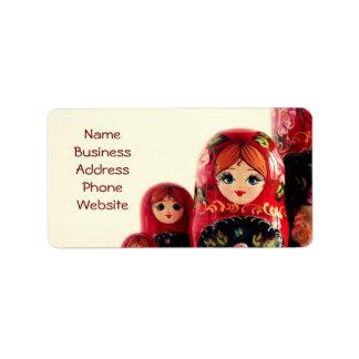 Babushka Russian Doll Address Label