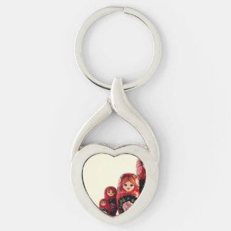 Babushka Russian Doll Silver-Colored Twisted Heart Key Ring