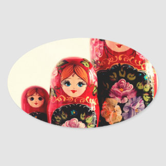 Babushka Russian Doll Oval Sticker