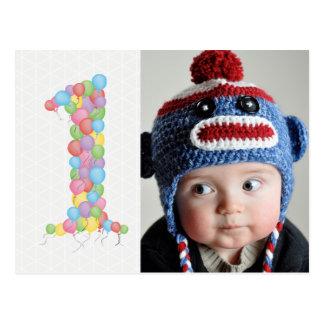 Baby 1st Birthday Balloons Thanks Photo Postcard