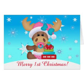 Baby 1st Christmas Cute Moose #1 (inside) Card