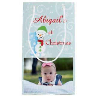 Baby 1st Christmas Photo Small Gift Bag