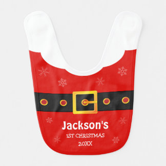 Baby 1st Christmas Red Funny Santa Claus Suit Baby Bibs