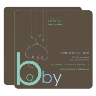 "Baby ""a"" in B Boy Blue Cute Baby Shower Invitation"