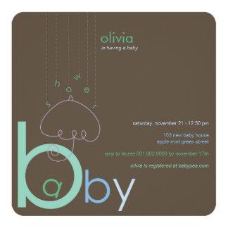 """Baby """"a"""" in B Boy Blue Cute Baby Shower Invitation"""