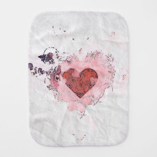 Baby Abstract Pink White Heart Burp Cloth