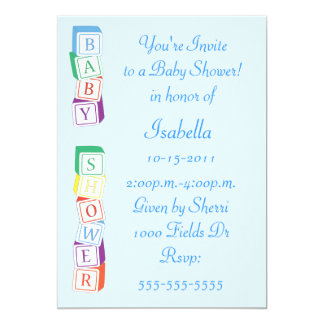Baby Alphabet Block Boy Baby Shower Invitation