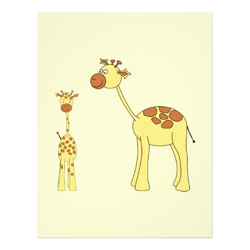 Baby and Adult Giraffe. Flyer Design