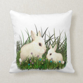Baby and Mother Bunny Rabbits Among the Flowers Cushion