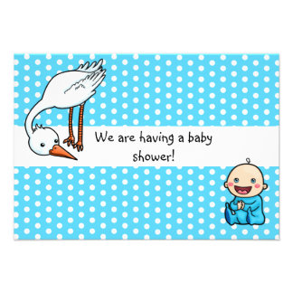 Baby and Stork Baby Shower Invitation