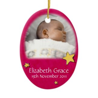 Baby angel Christmas red ornament own photo ornament