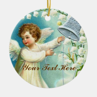 Baby Angel With Blue Bell Ceramic Ornament