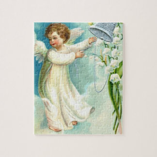 Baby Angel With Blue Bell Jigsaw Puzzle