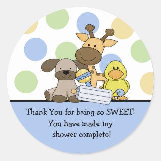 Baby Animals Baby Shower Thank You Sticker