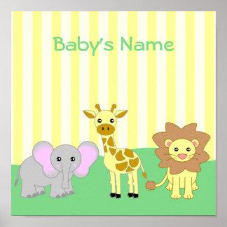 Baby Animals Child's Room Customizable Poster
