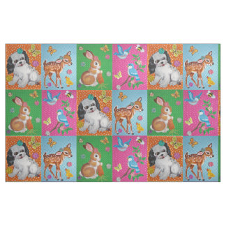 Baby Animals Fabric for Baby, Child Vintage Look