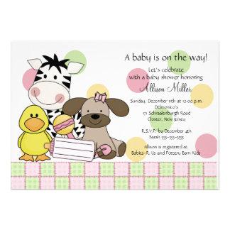 Baby Animals Girl Baby Shower Invitation