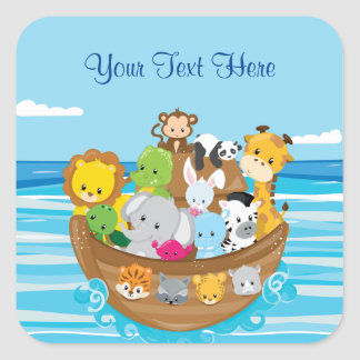 Baby Animals | Noah's Ark | Personalized Square Sticker