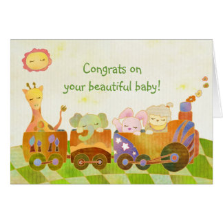 Baby Animals on Choo Choo Train: New Baby Card