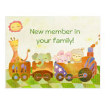 Baby Animals on Choo Choo Train: New Baby Postcard