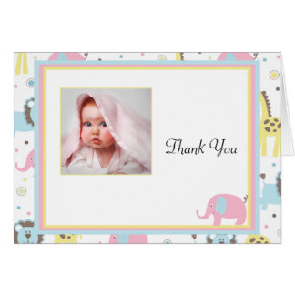 Baby Animals Pink Elephant Thank You Card