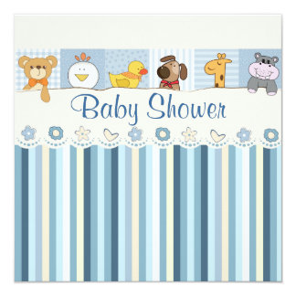 Baby Animals & Stripes Blue Baby Shower 13 Cm X 13 Cm Square Invitation Card