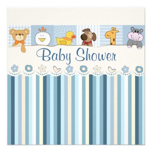 Baby Animals & Stripes Blue Baby Shower Custom Invite