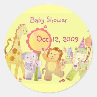 Baby Animals Yellow Baby Shower Invitation Sticker