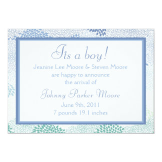 "Baby announcement (Boy)! 5"" X 7"" Invitation Card"