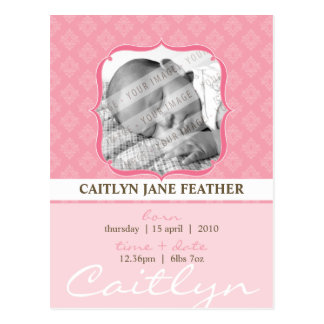 BABY ANNOUNCEMENT ::  elegantly framed 6 Post Card