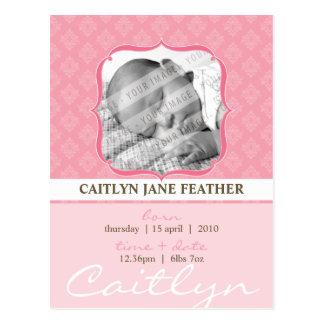 BABY ANNOUNCEMENT ::  elegantly framed 6 Postcard