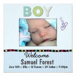 baby announcement 13 cm x 13 cm square invitation card